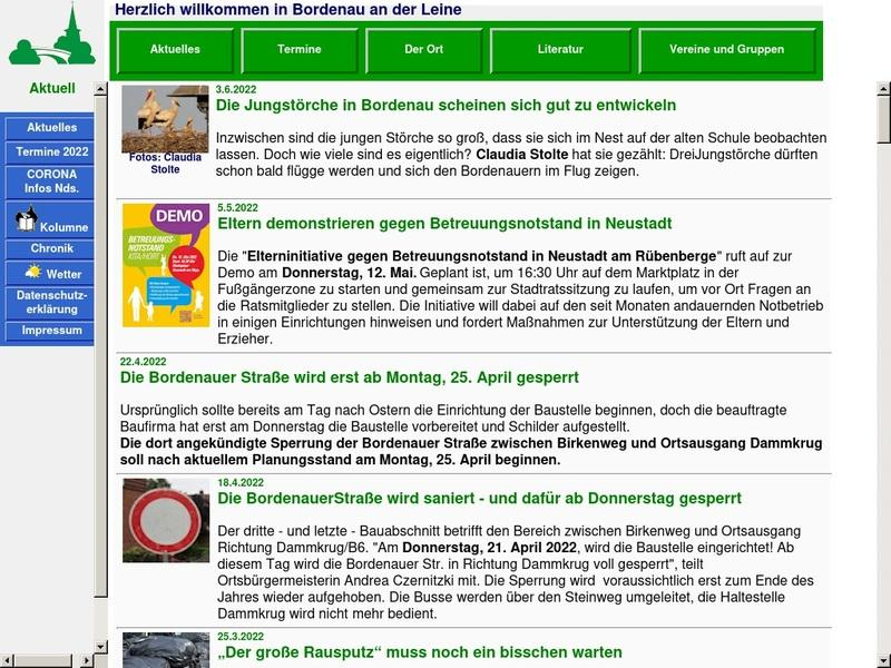 Screenshot von www.bordenau.de
